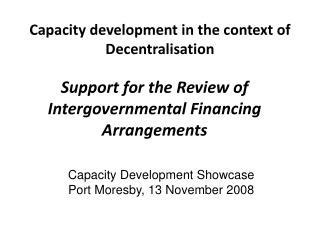 Capacity development in the context of Decentralisation