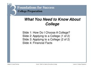 Slide 1: How Do I Choose A College? Slide 2: Applying to a College (1 of 2)