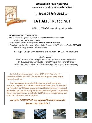 PROGRAMME DES CONFERENCES: Vie et œuvre d'Eugène Freyssinet:  Pierre JARTOUX/Frank GUYON