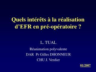 Quels int r ts   la r alisation  d EFR en pr -op ratoire