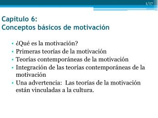 Capítulo 6: Conceptos básicos de motivación