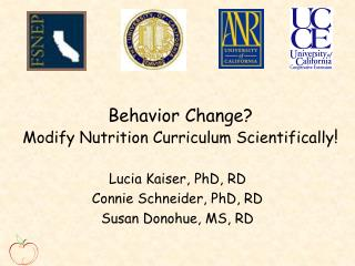 Behavior Change  Modify Nutrition Curriculum Scientifically