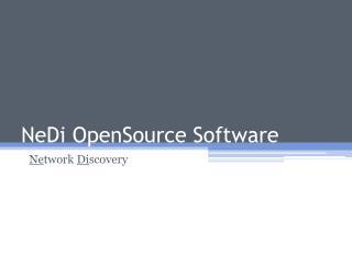 NeDi OpenSource Software