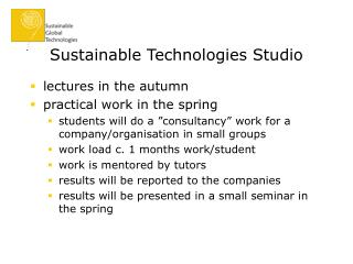 Sustainable Technologies Studio