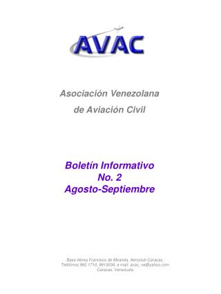 Asociación Venezolana de Aviación Civil Boletín Informativo No. 2 Agosto-Septiembre
