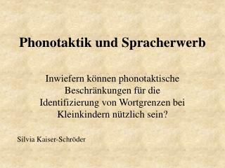 Phonotaktik und Spracherwerb