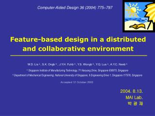 Feature-based design in a distributed and collaborative environment