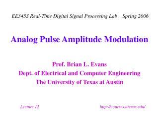 Analog Pulse Amplitude Modulation