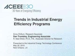 Trends in Industrial Energy Efficiency Programs