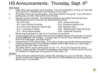 HS Announcements:  Thursday, Sept. 6 th