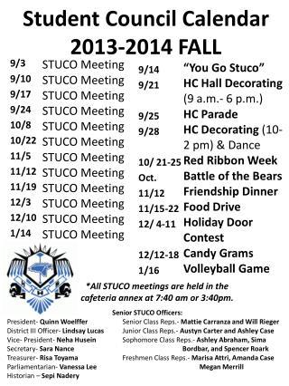 Student Council Calendar 2013-2014 FALL