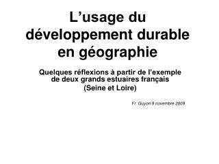 L'usage du développement durable en géographie