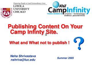 Publishing Content On Your Camp Infinty Site.