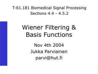 Wiener Filtering   Basis Functions