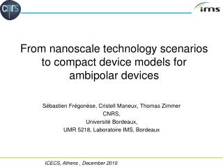 From nanoscale technology scenarios to compact device models for ambipolar devices