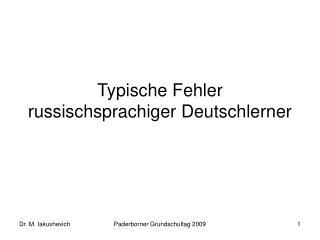Typische Fehler russischsprachiger Deutschlerner
