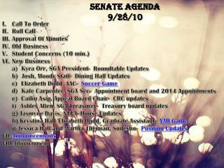 Senate Agenda 9/28/10