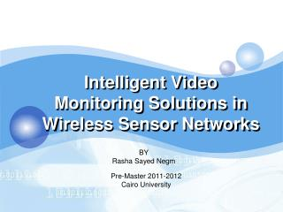 Intelligent Video Monitoring Solutions in Wireless Sensor Networks