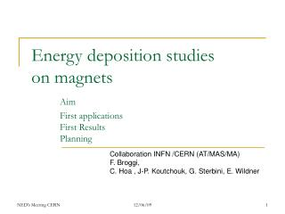 Energy deposition studies  on magnets Aim 	First applications 	First Results	 	Planning