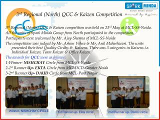 3 rd  Regional (North) QCC & Kaizen Competition