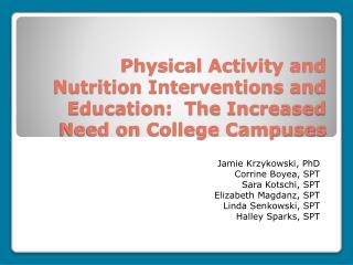 Jamie Krzykowski, PhD Corrine Boyea, SPT Sara Kotschi, SPT Elizabeth Magdanz, SPT