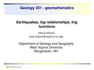 Geology 351 - geomathematics