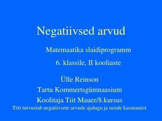 Negatiivsed arvud