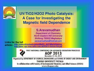 UV/TiO2/H2O2 Photo Catalysis: A Case for Investigating the Magnetic field Dependence