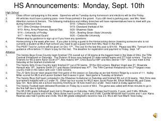 HS Announcements:  Monday, Sept. 10th