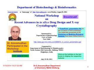 Dr. Aravamudhan Participated in the Workshop Certificate