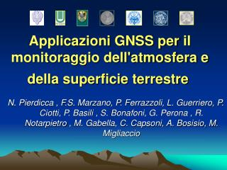Applicazioni GNSS peril monitoraggio dell'atmosfera e della superficie terrestre