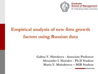 Empirical analysis of new firm growth factors using Russian data