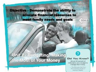 Unit 2 - Budgeting: Making the Most of Your Money