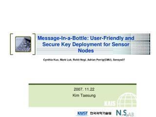 Message-In-a-Bottle: User-Friendly and Secure Key Deployment for Sensor Nodes