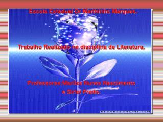 Escola Estadual Dr Marthinho Marques. Trabalho Realizado na disciplina de Literatura.