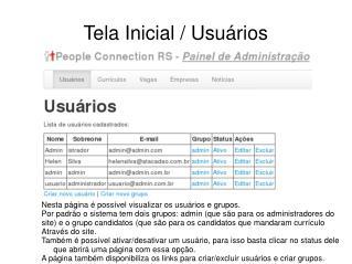 Tela Inicial / Usuários