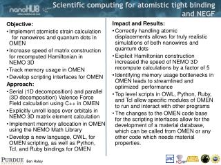 Scientific computing for atomistic tight binding and NEGF
