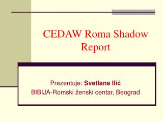 CEDAW Roma Shadow Report