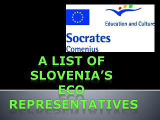 A LIST OF  SLOVENIA'S  ECO  REPRESENTATIVES