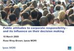 Public attitudes to corporate responsibility - and its influence on their decision making