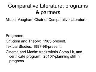 Comparative Literature: programs & partners