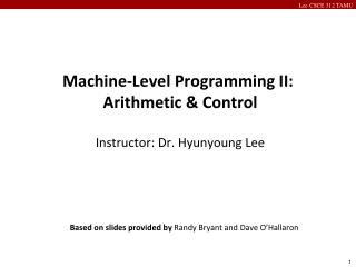 Machine-Level Programming II: Arithmetic & Control Instructor: Dr. Hyunyoung Lee