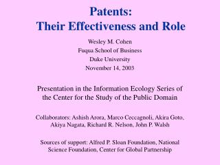 Patents: Their Effectiveness and Role
