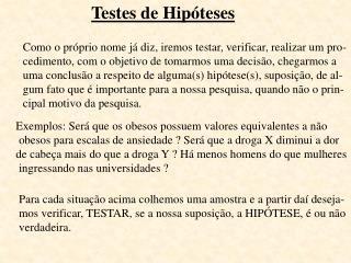 Testes de Hipóteses