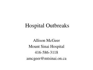 Hospital Outbreaks