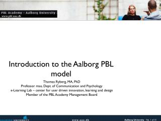 Introduction to the Aalborg PBL model