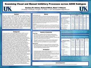 Examining Visual and Manual Inhibitory Processes across ADHD Subtypes  Zachary W. Adams, Richard Milich, Mark T. Fillmor