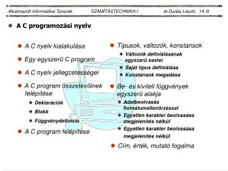 A C programozási nyelv