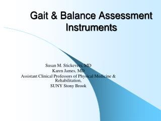 Gait & Balance Assessment Instruments