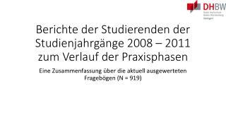 Berichte der Studierenden der Studienjahrgänge 2008 – 2011 zum Verlauf der Praxisphasen